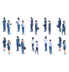 isometric office people male and female 3d vector image