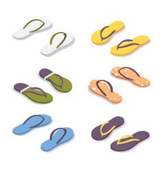 isometric set flip flops in various colors vector image