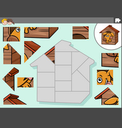 Jigsaw puzzle game with dog character in kennel vector