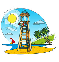 Lifeguard tower on the beach color of a summer vector