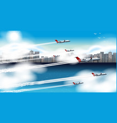 Many airplanes flying in sky vector