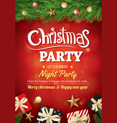 merry christmas party gift box and tree on red vector image