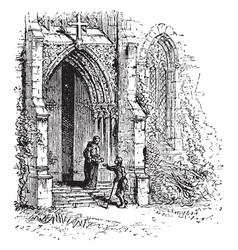 Monastery gate monastery vintage engraving vector
