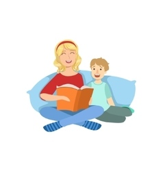Mother And Child Reading A Book Together vector image