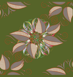Of leaves pattern on green brown and gray vector