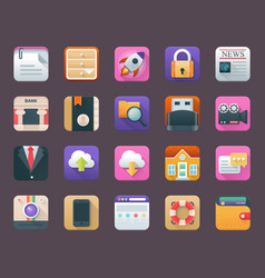 Pack of business app icons vector