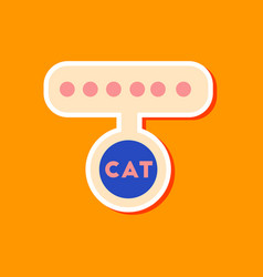 Paper sticker on stylish background cat collar vector