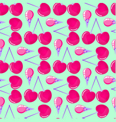 pattern with cherries and ice cream vector image