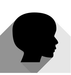 People head sign black icon with two flat vector