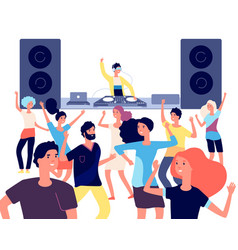 People on dance floor dancing people young vector