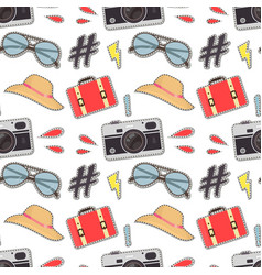 photo camera hipster sticker background vector image