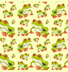 Red eyed tree frog seamless pattern vector
