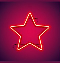 Red neon star shape vector