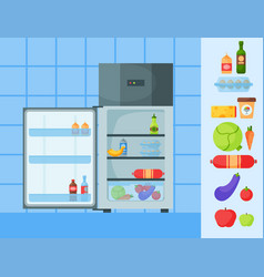 Refrigerator organic food kitchenware household vector