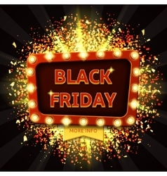 Retro banner with glowing lamps for Black friday vector image