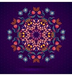 Round oriental pattern on vintage background vector