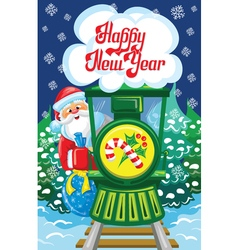 Santa and train vector image