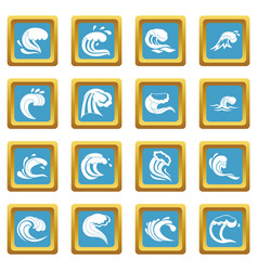 sea waves icons azure vector image