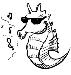 Seahorse in sunglasses whistling music vector