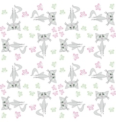 Seamless pattern sad cat and butterfly vector