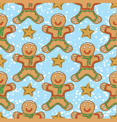 seamless pattern with gingerbread man and stars vector image