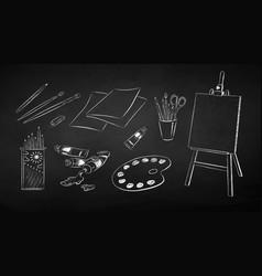 set art students supplies vector image