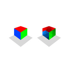 set of cube logo design template vector image