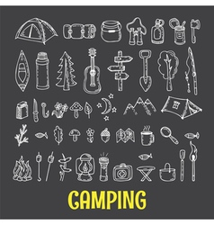 Set of hand drawn camping and hiking equipment vector