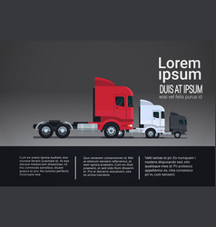 set of infographic elements with semi truck vector image
