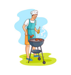 sketch man preparing meat steak at barbeque vector image
