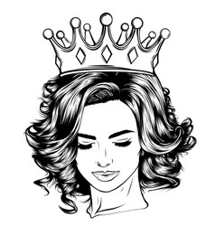 skull girl with a crown vector image