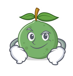 Smirking guava character cartoon style vector