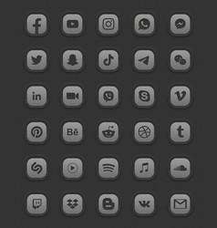 Social media dark mode 3d web icons set vector