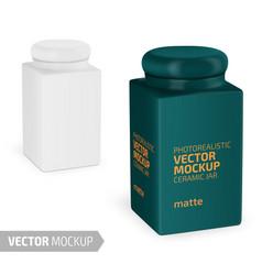 Square matte ceramic jar mockup realistic vector