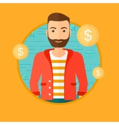 Successful businessman with dollar coin vector