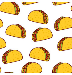 Tacos seamless pattern mexican food vector