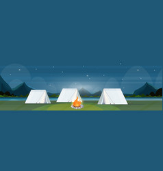 Tent camping area with campfire night campsite vector