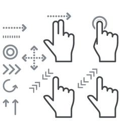 Touch screen gesture hand signs icons vector