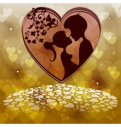 Two lovers on a hearts background vector image