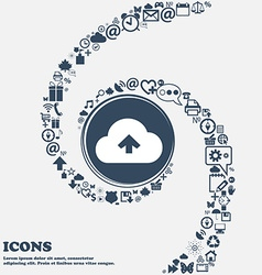 Upload from cloud icon sign in the center Around vector