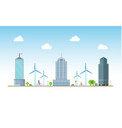 urban ecology people with bikecycles vector image