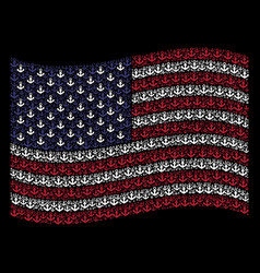Waving american flag stylization of anchor icons vector