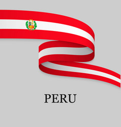 waving ribbon or banner with flag vector image