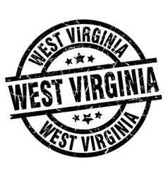 West virginia black round grunge stamp vector
