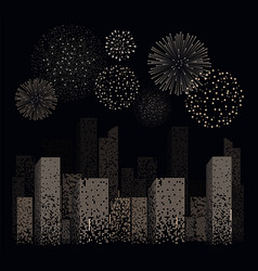 White firework show on night city landscape vector