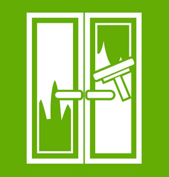 window cleaning icon green vector image