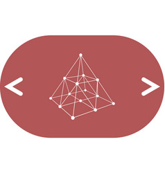wire frame shape pyramid with connected lines and vector image