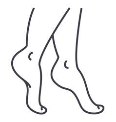 Woman legs line icon sign on vector