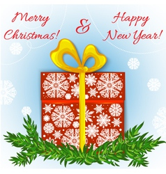 Christmas card with gift eps10 vector image