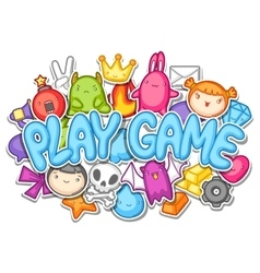 Game kawaii design Cute gaming elements objects vector image vector image
